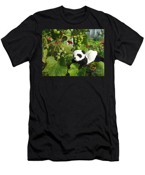 Men's T-Shirt (Slim Fit) featuring the photograph I Love Grapes Says The Panda by Ausra Huntington nee Paulauskaite