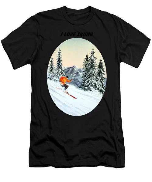 I Love Skiing  Men's T-Shirt (Athletic Fit)