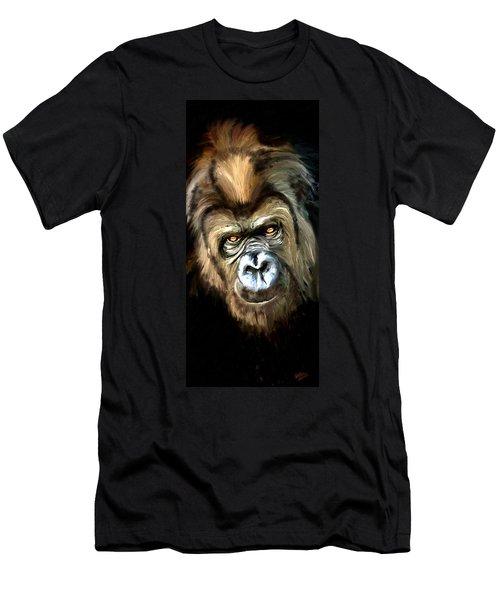 Men's T-Shirt (Slim Fit) featuring the painting Gorilla Portrait by James Shepherd