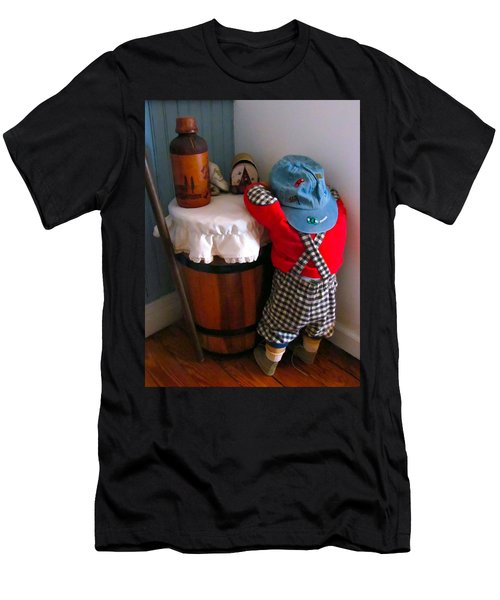 Men's T-Shirt (Slim Fit) featuring the painting I Shouldn't Have Done It by Lanjee Chee
