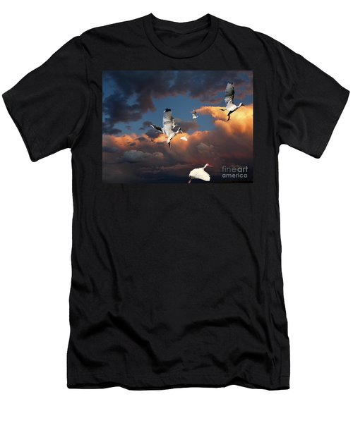 Men's T-Shirt (Slim Fit) featuring the photograph Ibis In Flight by Irma BACKELANT GALLERIES