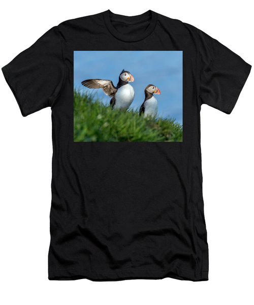 Iceland A World Of Puffins Men's T-Shirt (Athletic Fit)