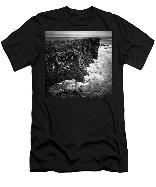 Iceland Coast Black And White Men's T-Shirt (Athletic Fit)