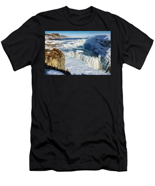 Iceland Gullfoss Waterfall In Winter With Snow Men's T-Shirt (Slim Fit) by Matthias Hauser