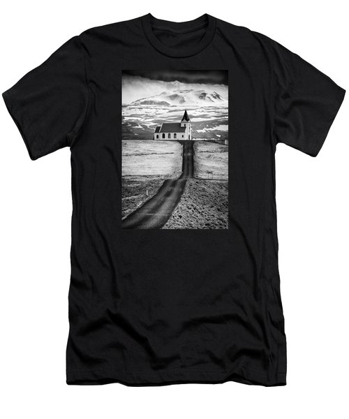 Iceland Ingjaldsholl Church And Mountains Black And White Men's T-Shirt (Athletic Fit)