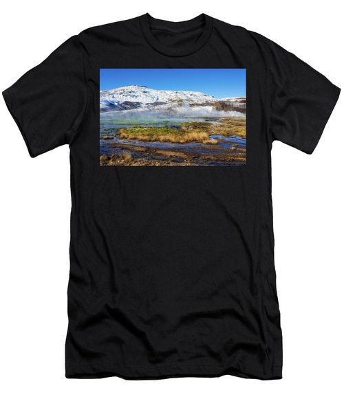 Men's T-Shirt (Slim Fit) featuring the photograph Iceland Landscape Geothermal Area Haukadalur by Matthias Hauser