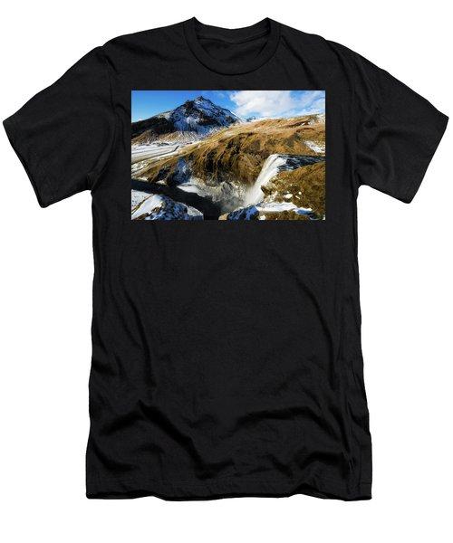 Iceland Landscape With Skogafoss Waterfall Men's T-Shirt (Slim Fit) by Matthias Hauser