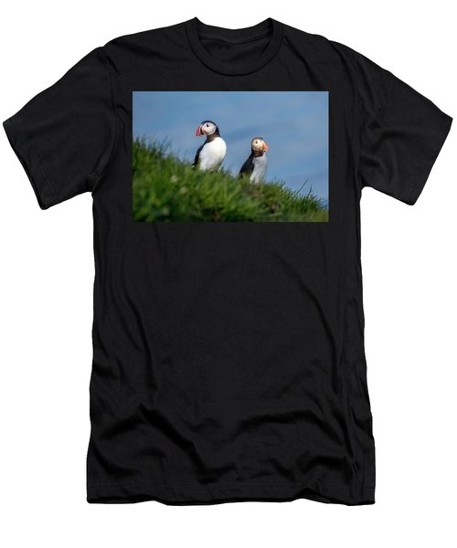 Iceland Puffins By The Sea Men's T-Shirt (Athletic Fit)