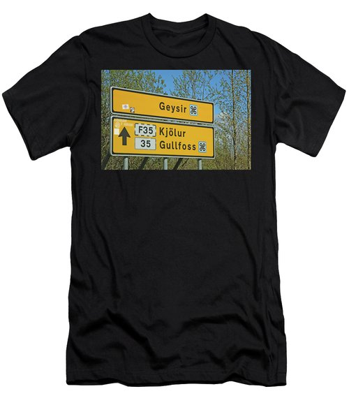 Iceland Road Sign Geysir Men's T-Shirt (Athletic Fit)