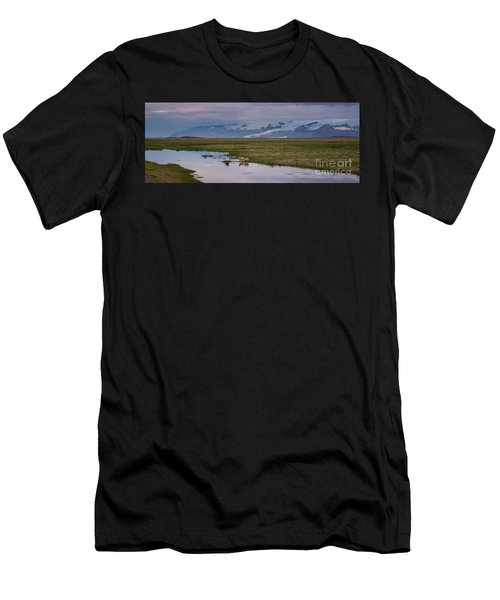Iceland Sheep Reflections Panorama  Men's T-Shirt (Athletic Fit)