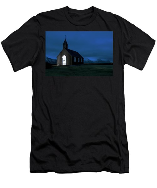Men's T-Shirt (Athletic Fit) featuring the photograph Icelandic Church At Night by Dubi Roman