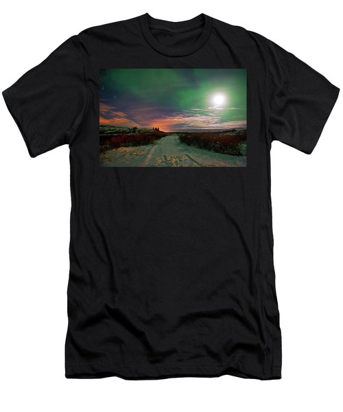Men's T-Shirt (Athletic Fit) featuring the photograph Iceland's Landscape At Night by Dubi Roman