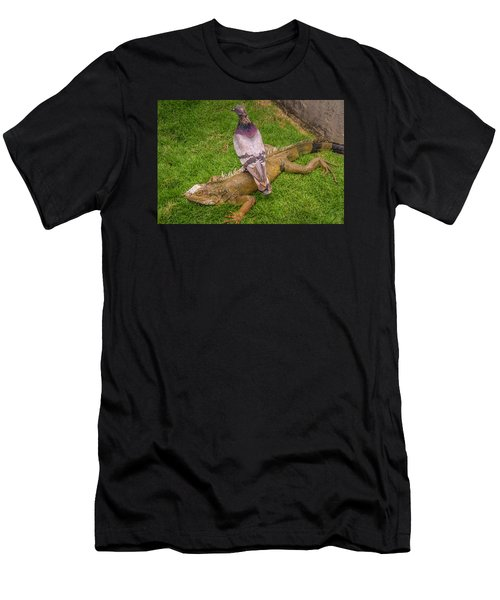 Iguana With Pigeon On Its Back Men's T-Shirt (Athletic Fit)