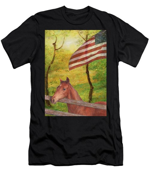 Illustrated Horse In Golden Meadow Men's T-Shirt (Athletic Fit)