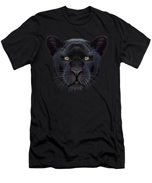 Illustrated Portrait Of Black Panther.  Men's T-Shirt (Slim Fit) by Altay Savrukov