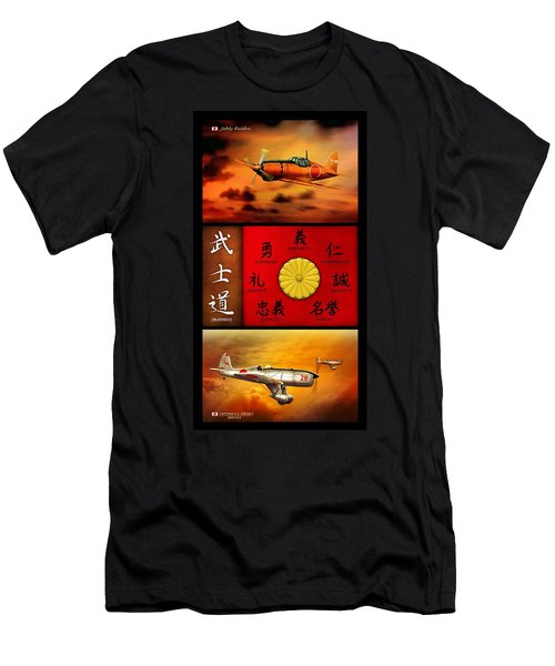 Imperial Japan Aircraft With Bushido Code Men's T-Shirt (Athletic Fit)