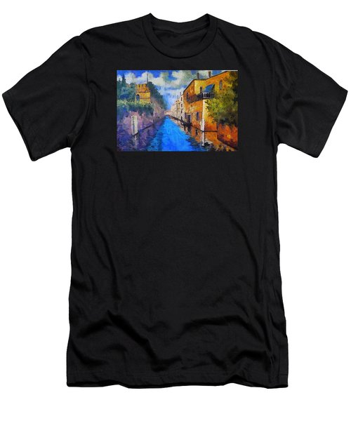 Impressionist D'art At The Canal Men's T-Shirt (Athletic Fit)