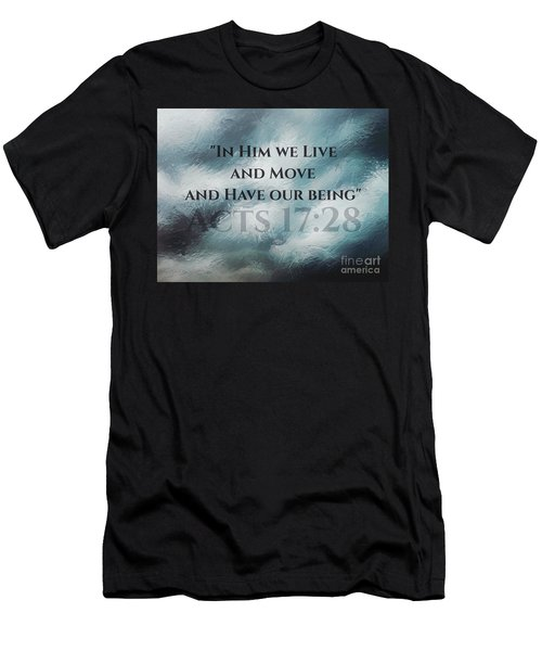 In Him We Live... Men's T-Shirt (Slim Fit) by Sharon Soberon