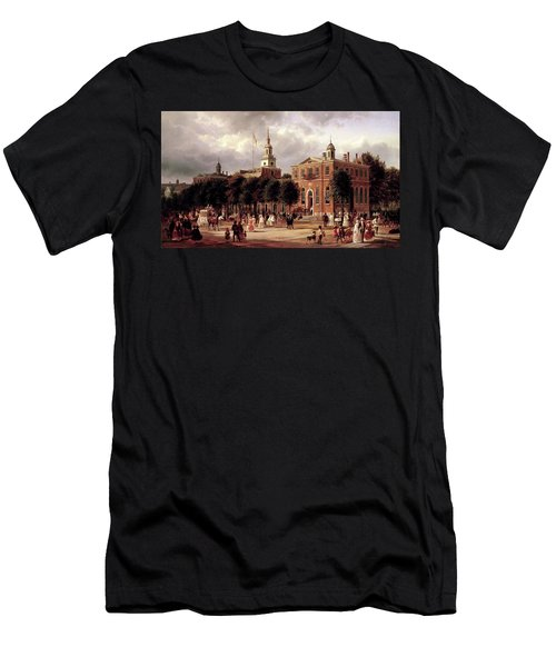 Men's T-Shirt (Slim Fit) featuring the painting Independence Hall by Ferdinand Richardt