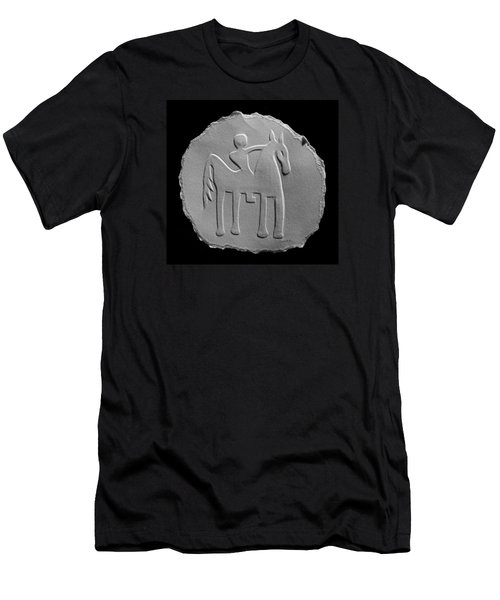 Men's T-Shirt (Slim Fit) featuring the relief Indian Art - Horse Rider by Suhas Tavkar