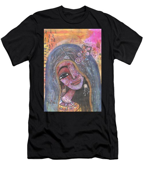 Indian Rajasthani Woman With Colorful Background  Men's T-Shirt (Athletic Fit)