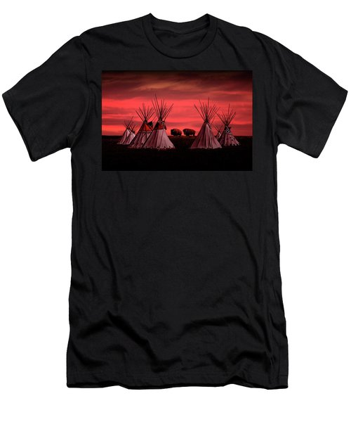 Indian Tepees At Sunset With American Bison Men's T-Shirt (Athletic Fit)