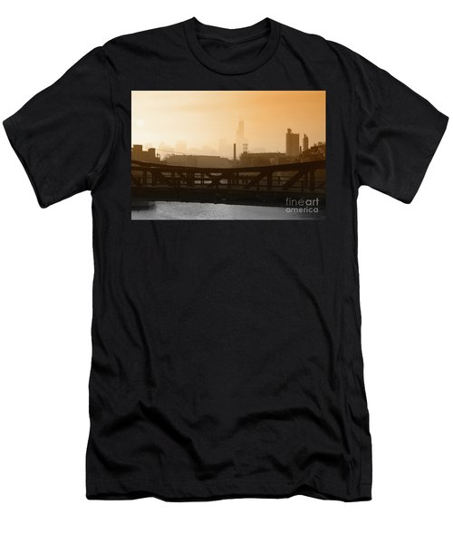 Industrial Foggy Chicago Skyline Men's T-Shirt (Athletic Fit)