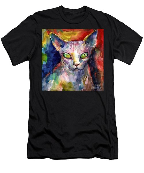 intense watercolor Sphinx cat painting Men's T-Shirt (Athletic Fit)
