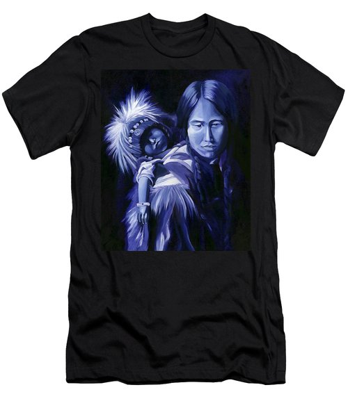 Men's T-Shirt (Slim Fit) featuring the painting Inuit Mother And Child by Nancy Griswold