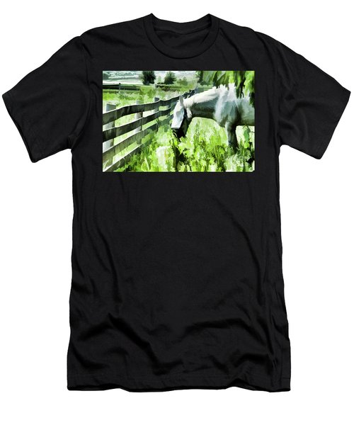 Men's T-Shirt (Slim Fit) featuring the digital art Iowa Farm Pasture And White Horse by Wilma Birdwell