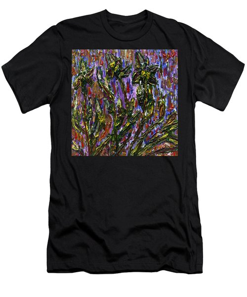 Men's T-Shirt (Slim Fit) featuring the painting Irises Carousel by Vadim Levin