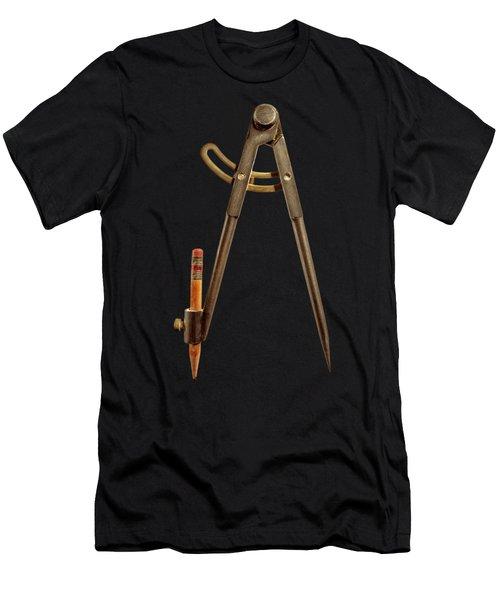 Iron Compass Back Split Color Paper Men's T-Shirt (Athletic Fit)