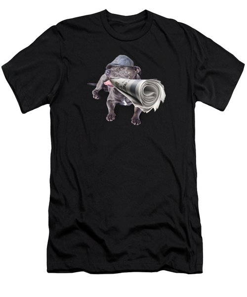 Isolated Newspaper Dog Carrying Latest News Men's T-Shirt (Athletic Fit)