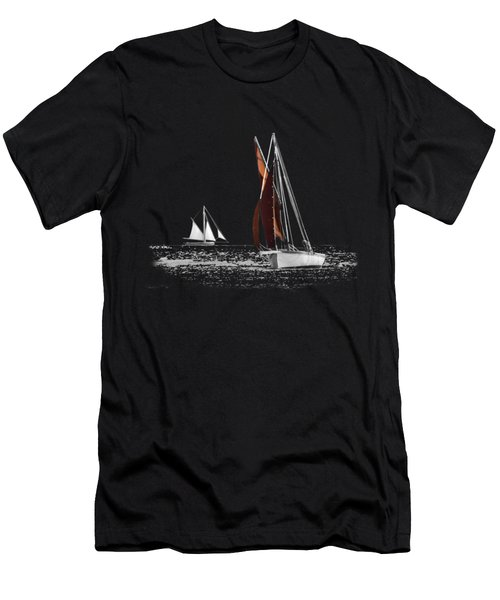 Isolated Yacht Carrick Roads On A Transparent Background Men's T-Shirt (Athletic Fit)