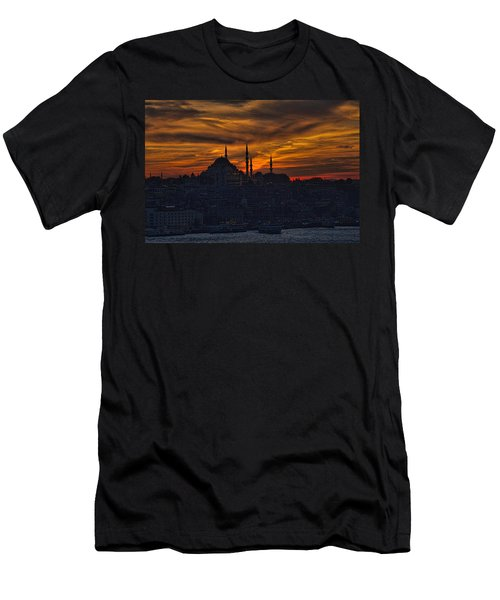 Istanbul Sunset - A Call To Prayer Men's T-Shirt (Slim Fit) by David Smith