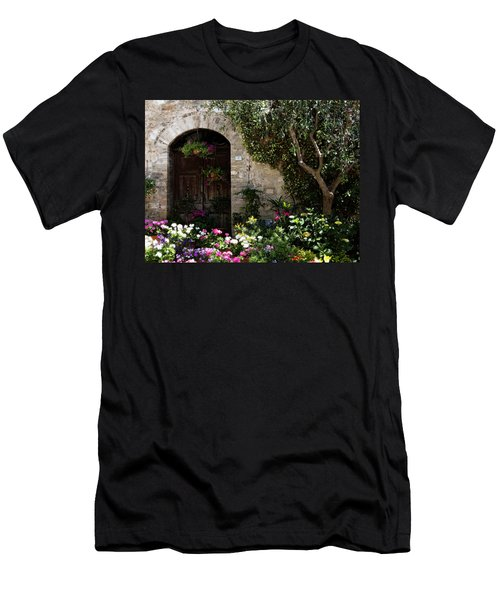 Italian Front Door Adorned With Flowers Men's T-Shirt (Athletic Fit)