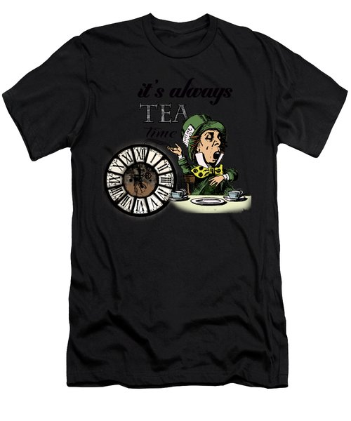 It's Always Tea Time Mad Hatter Dictionary Art Men's T-Shirt (Athletic Fit)