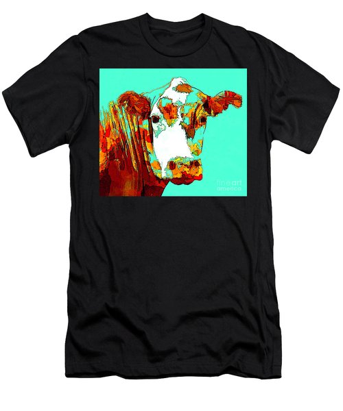 Turquoise Cow Men's T-Shirt (Athletic Fit)