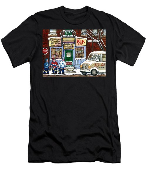 J J Joubert Vintage Milk Truck At Marvin's Grocery Montreal Memories Street Hockey Best Hockey Art Men's T-Shirt (Athletic Fit)