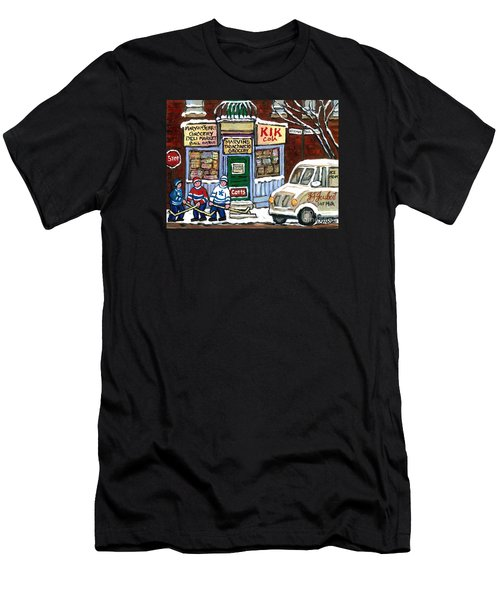 J J Joubert Vintage Milk Truck At Marvin's Grocery Montreal Memories Street Hockey Best Hockey Art Men's T-Shirt (Athletic Fit)