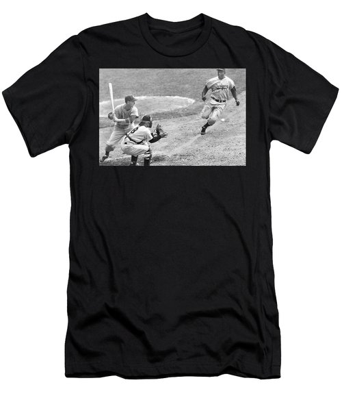 Jackie Robinson Stealing Home Yogi Berra Catcher In 1st Game 1955 World Series Men's T-Shirt (Athletic Fit)