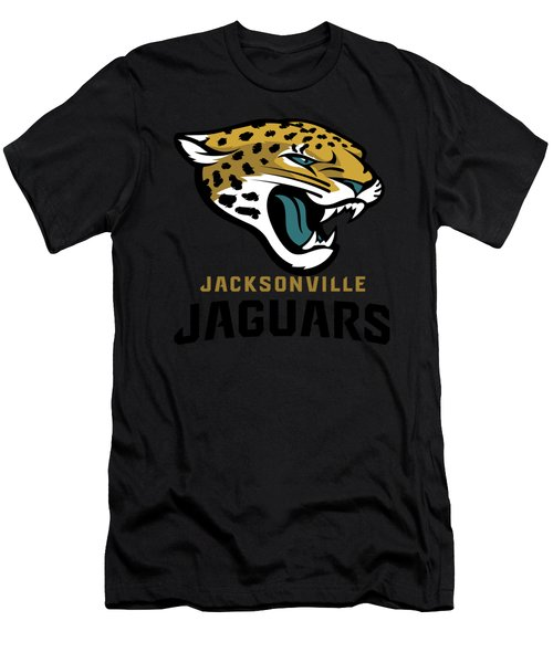 Jacksonville Jaguars On An Abraded Steel Texture Men's T-Shirt (Athletic Fit)