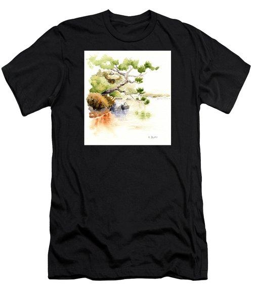 Japanese Garden Pond Sketch Men's T-Shirt (Athletic Fit)
