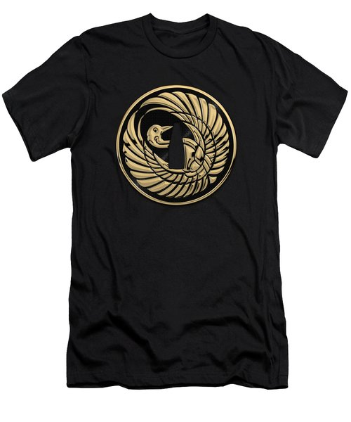 Japanese Katana Tsuba - Golden Crane On Black Steel Over Red Velvet Men's T-Shirt (Athletic Fit)