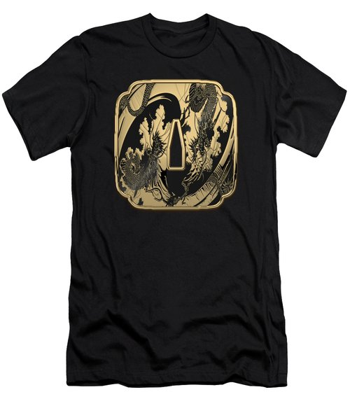 Japanese Katana Tsuba - Golden Twin Dragons On Black Steel Over Red Velvet Men's T-Shirt (Athletic Fit)