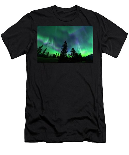 Men's T-Shirt (Slim Fit) featuring the photograph Jasper National Park Aurora by Dan Jurak