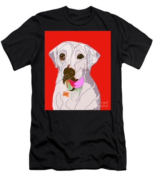 Jax With Ball In Red Men's T-Shirt (Athletic Fit)