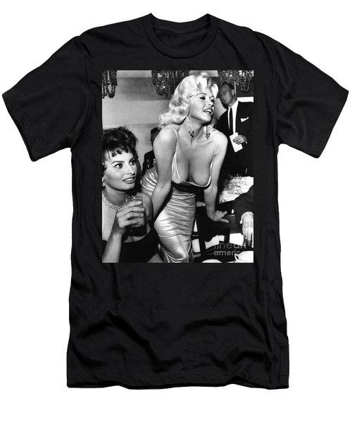 Jayne Mansfield Hollywood Actress And, Italian Actress Sophia Loren 1957 Men's T-Shirt (Athletic Fit)
