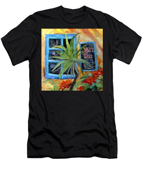 Jazz Bar In Santorini Men's T-Shirt (Athletic Fit)
