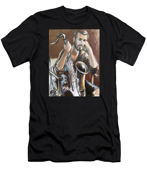 Jazz.saxophone Player Painting  Men's T-Shirt (Athletic Fit)